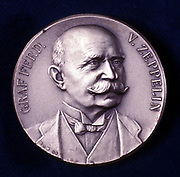 Count Ferdinand von Zeppelin  (1838-1917) German army officer: Airships (dirigibles). Portrait from obverse of commemorative medal.