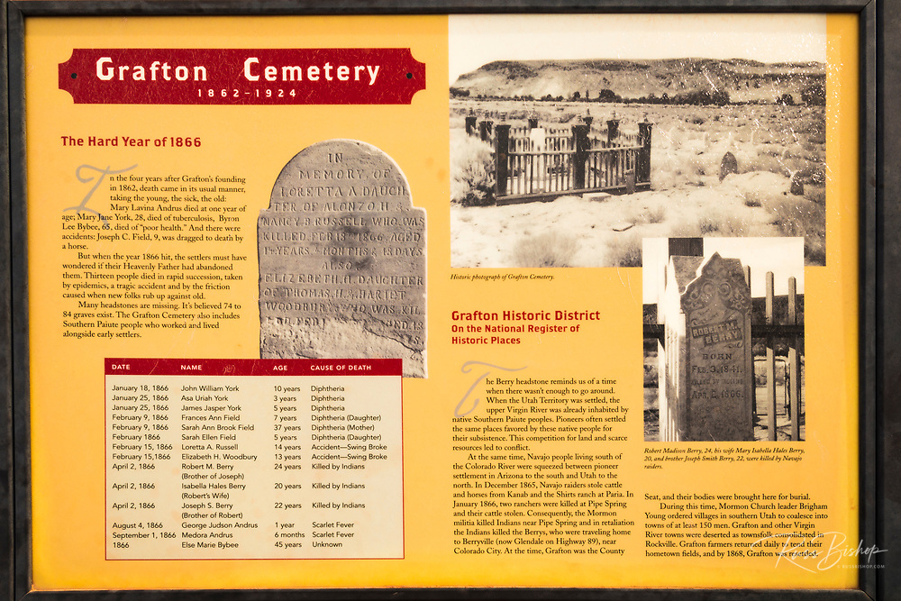 Interpretive sign at the Grafton Cemetery, Grafton ghost town, Utah USA