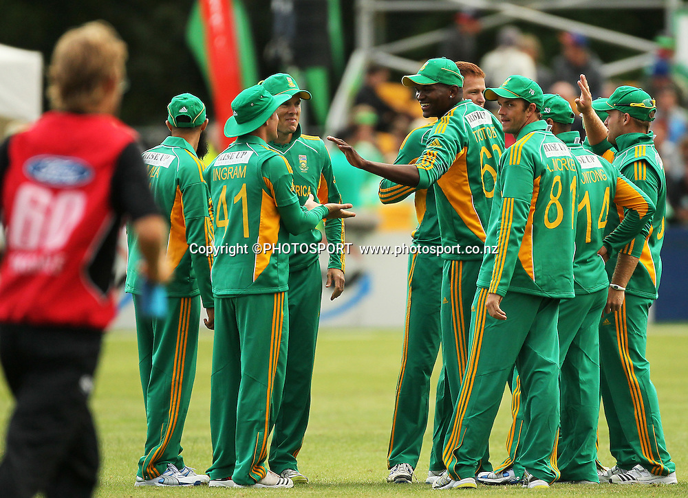 South African Lonwabo Tsotsobe celebrates a wicket team mates. Canterbury Wizards v South Africa. International Twenty20 cricket match, Hagley Oval, Wednesday 15 February 2012. Photo : Joseph Johnson / photosport.co.nz