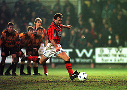 Falkirk's Albert Craig scoring a goal from the penalty spot, Falkirk v Berwick Rangers, 25/1/1997..Pic : Michael Schofield.