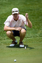 Roberto Castro reads the 18th green.  The second round of the Spring Creek Classic golf tournament was held at the Spring Creek Golf Club in Zion Crossroads, VA on June 27, 2007