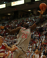 MORNING JOURNAL/DAVID RICHARD.Greg Oden, right, pulls down a rebound Sunday, Feb. 25, 2007, in Columbus, Ohio. Ohio State beat Wisconsin 49-48.