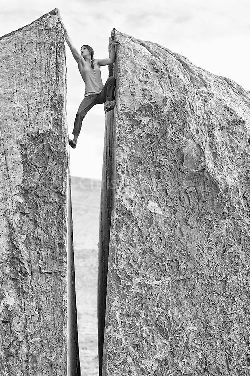 Pro climber Paige Claassen DeKock bouldering at Red Rocks near Las Vegas.