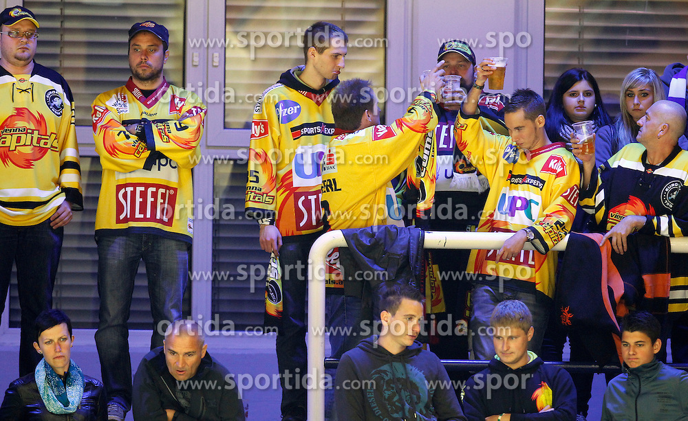 14.09.2012, Stadthalle, Villach, AUT, EBEL, EC VSV vs UPC Vienna Capitals, 03. Runde im Bild die Fans aus Wien // during the Erste Bank Icehockey League 03rd Round match between EC VSV and UPC Vienna Capitals at the City Hall, Villach, Austria, 2012/09/14, EXPA Pictures © 2012, PhotoCredit: EXPA/ Oskar Hoeher