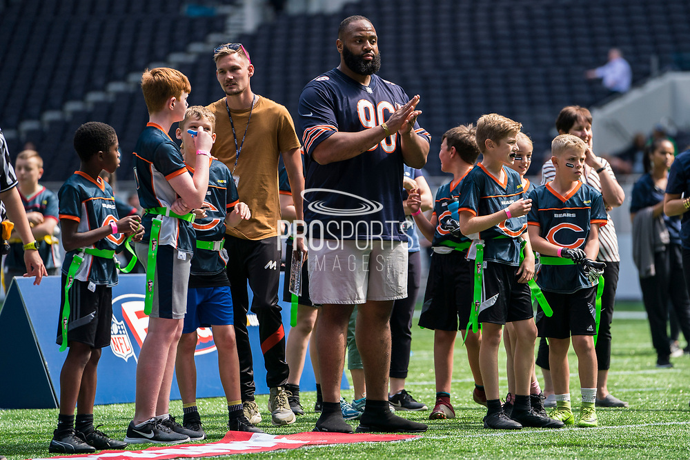 Mario Addison (DE, Carolina Panthers) cheers on his team during the NFL UK Media Day at Tottenham Hotspur Stadium, London, United Kingdom on 3 July 2019.