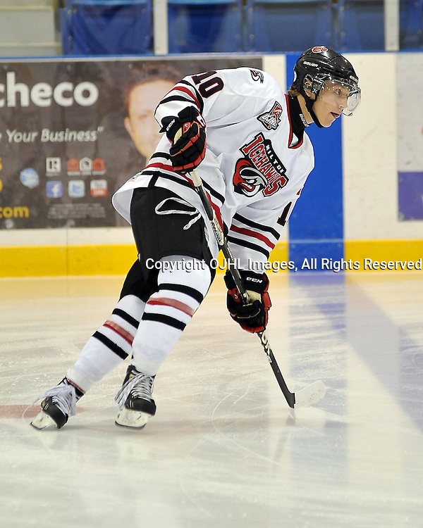 OAKVILLE, ON - Sep 6 : Ontario Junior Hockey League game between Milton Icehawks and Oakville Blades. Opening night of the 2013/2014 season. Bryce Abraham #10 of the Milton Icehawks Hockey Club during the pre-game warm-up.<br /> (Photo by Shawn Muir / OJHL Images)