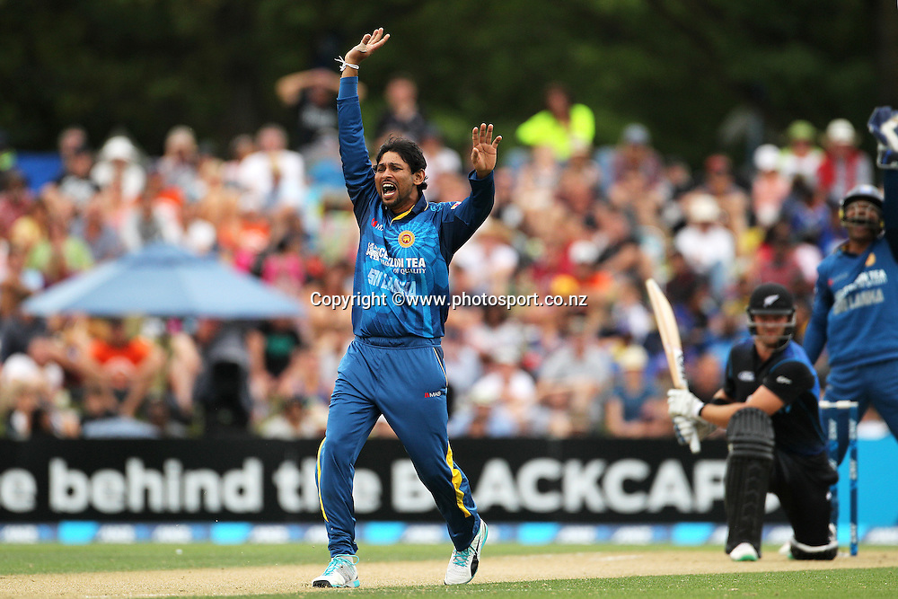 Tillakaratne Dilshan of Sri Lanka appeals for an lbw for the wicket of Corey Anderson of the Black Caps during the first ODI cricket game between the Black Caps v Sri Lanka at Hagley Oval, Christchurch. 11 January 2015 Photo: Joseph Johnson / www.photosport.co.nz