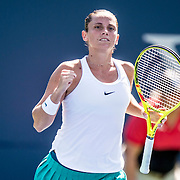 August 24, 2016, New Haven, Connecticut: <br /> Roberta Vinci of Italy reacts after winning a match during Day 6 of the 2016 Connecticut Open at the Yale University Tennis Center on Wednesday, August  24, 2016 in New Haven, Connecticut. <br /> (Photo by Billie Weiss/Connecticut Open)