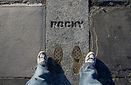 UNITED STATES-PHILADELPHIA-Rocky's footprints on the steps of the Philadelphia Museum of Modern Art. PHOTO: GERRIT DE HEUS..VERENIGDE STATEN-PHILADELPHIA-  De trappen van het Philadelphia Museum of Modern Art.  COPYRIGHT GERRIT DE HEUS