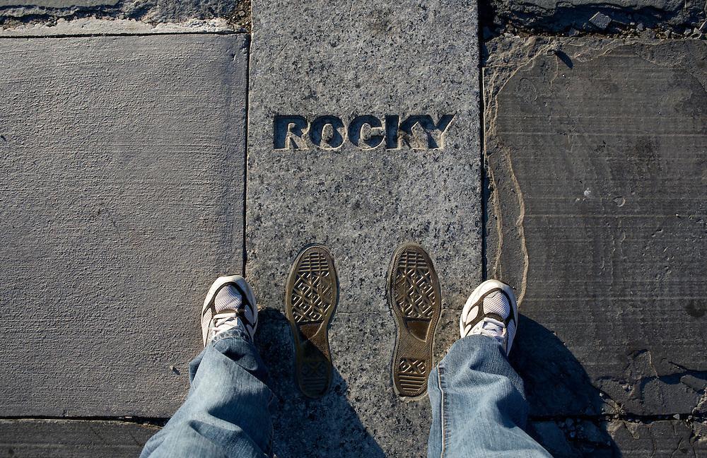 UNITED STATES-PHILADELPHIA-Rocky's footprints on the steps of the Philadelphia Museum of Modern Art. PHOTO: GERRIT DE HEUS..VERENIGDE STATEN-PHILADELPHIA-  De trappen van het Philadelphia Museum of Modern Art.  COPYRIGHT GERRIT DE HEUS