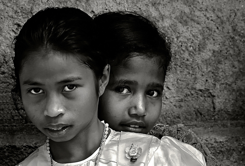 Girls dressed for church on Lembata Island, Indonesia.