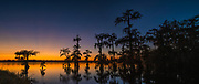 Lake Martin panoramic photograph of a intense sunset.