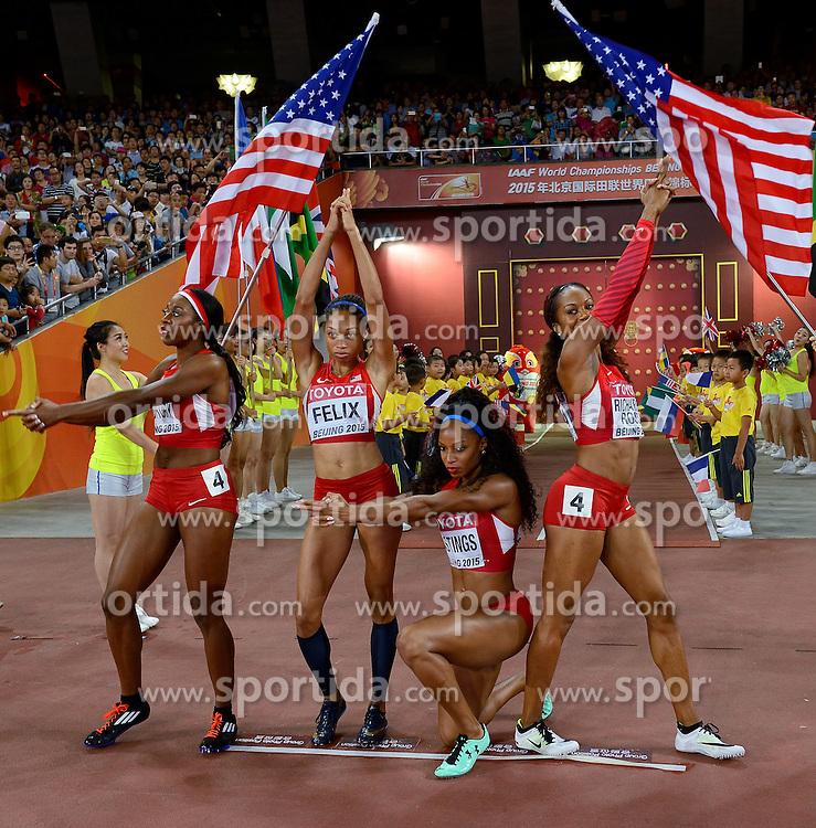 30-08-2015 CHN: IAAF World Championships Athletics day 9, Beijing<br /> 400 m relay Francena MCCORORY, Allyson FELIX, Natasha HASTINGS, Sanya RICHARDS-ROSS<br /> Photo by Ronald Hoogendoorn / Sportida