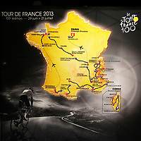 CYCLING - PRESENTATION TOUR DE FRANCE 2013 - PARIS (FRA) - 24/10/2011 - PHOTO JULIEN BIEHLER / DPPI - Illustration Map Traject - The 100th edition - Centenaire