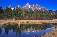 Reflections of the Teton Range in a beaver pond at Schwabacher Landing.  Grand Teton National Park.  Wyoming