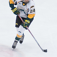 1st year forward Merissa Zerr (24) of the Regina Cougars in action during the Women's Hockey home game on October 8 at Co-operators arena. Credit: Arthur Ward/Arthur Images