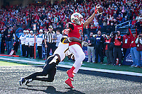 BOWLING GREEN, KY - DECEMBER 5:  Antwane Grant #3 of the WKU Hilltoppers catches a touchdown pass while being defended by Picasso Nelson Jr. #13 of the Southern Miss Golden Eagle at Houchens-Smith Stadium on December 5, 2015 in Bowling Green, Kentucky.  The Hilltoppers defeated the Golden Eagles 45-28.  (Photo by Wesley Hitt/Getty Images) *** Local Caption *** Antwane Grant; Picasso Nelson Jr.