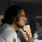 NEW YORK, NEW YORK - APRIL 29:  Pitcher Jake Peavy #22 of the San Francisco Giants in the dugout after being pulled from the game in the third inning in which the Mets scored twelve runs during the New York Mets Vs San Francisco Giants MLB regular season game at Citi Field on April 29, 2016 in New York City. (Photo by Tim Clayton/Corbis via Getty Images)