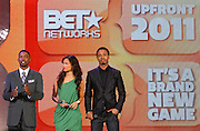 Denmark West, Rocsi and Terrence J attend the 2011 BET Networks Upfront at the Best Buy Theater on April 20, 2011 in New York City.