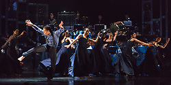 "© Licensed to London News Pictures. 12/05/2015. London, England. Liam Francis on the left. Rambert Dance Company perform the World Premiere of ""Dark Arteries"" by Mark Baldwin as part of a triple bill at Sadler's Wells Theatre. Rambert perform with the Tredegar Town Band and the Rambert Orchestra from 12 to 16 May 2015. Photo credit: Bettina Strenske/LNP"