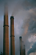 Berlin, Germany. Factory smokestacks near Berlin.