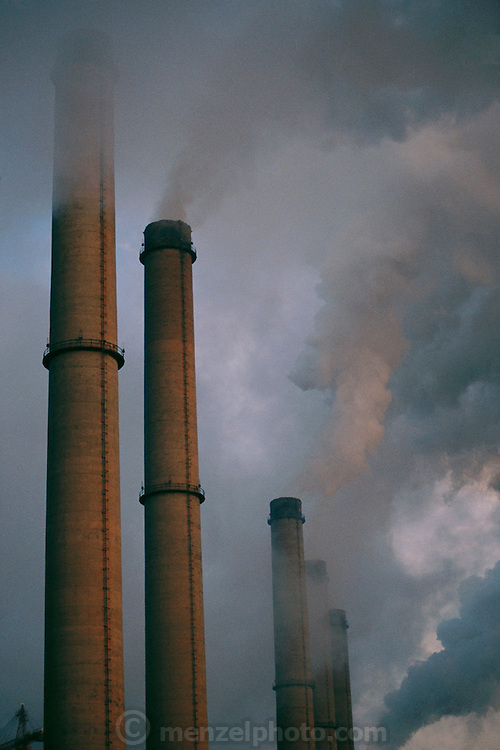 Berlin, Germany. Factory smokestacks near Berlin.