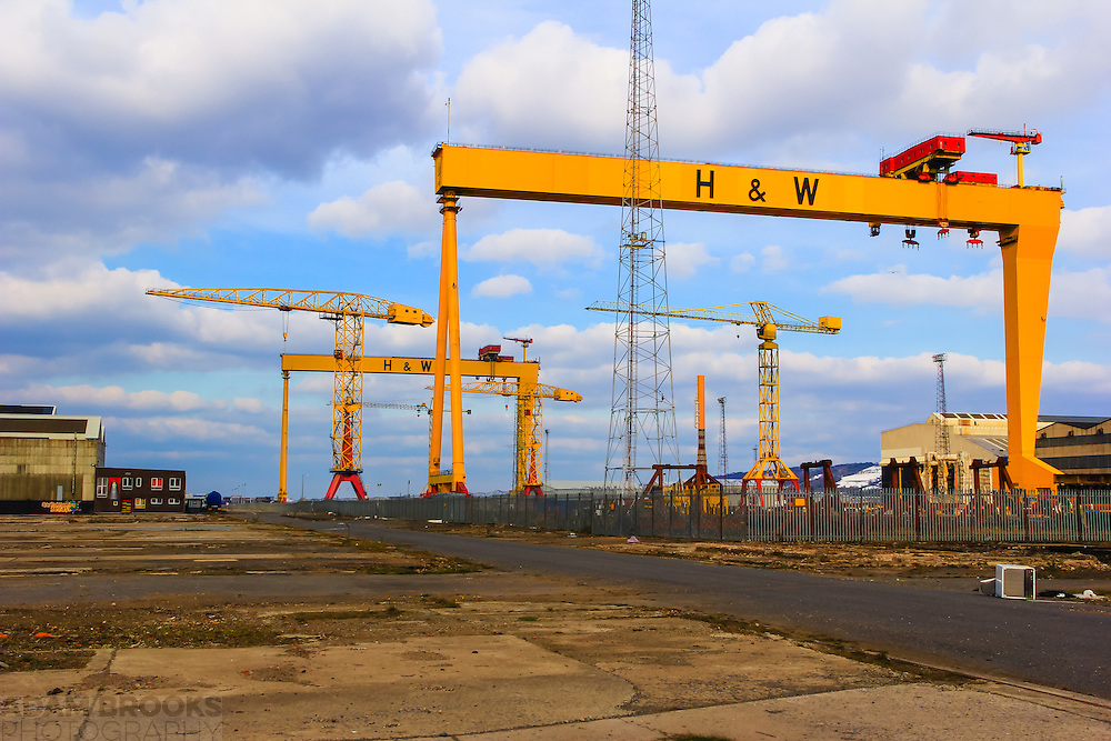 Samson (background) and Goliath (foreground) the two famous great shipbuilding cranes of the shipbuilding company Harland and Wolff heavy industries which were completed in 1974 and 1969 respectively. Located on Queen's Island, Belfast