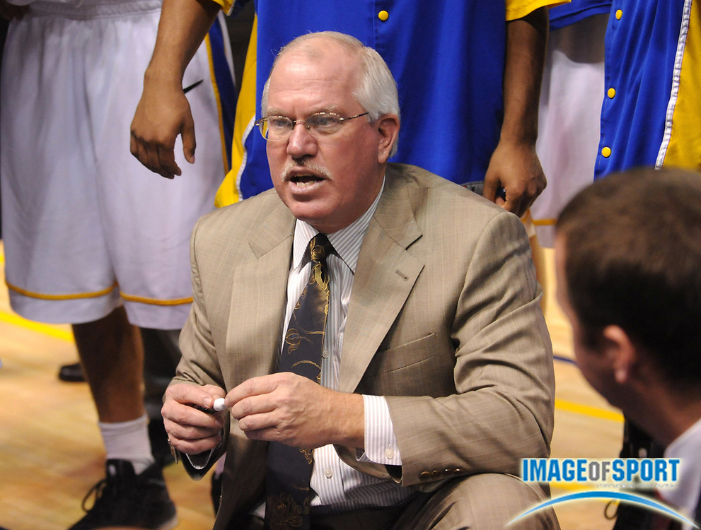 Dec 1, 2008; Bakersfield, CA, USA; Cal State Bakersfield Roadrunners coach Keith Brown during a timeout against the University of San Diego Toreros at the Rabobank Arena. USD defeated CSUB 77-65.