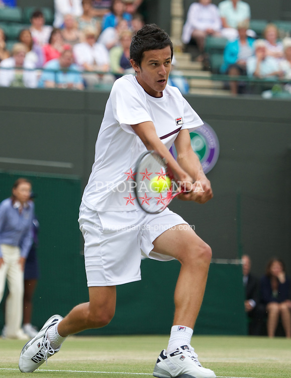 LONDON, ENGLAND - Sunday, July 3, 2011: Mate Pavic (CRO) in action during the Boys' Doubles Final match on day thirteen of the Wimbledon Lawn Tennis Championships at the All England Lawn Tennis and Croquet Club. (Pic by David Rawcliffe/Propaganda)