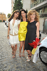 Left to right, LISA B, ASSIA WEBSTER and KELLY HOPPEN at a treasure hunt and dinner hosted by Fiat to celebrate the launch of the Fiat 500 C held at Zuma, Raphael Street, London on 29th June 2009.