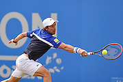 Pablo Cuevas (URU) returns with a back hand during the Singles Final of the Aegon Open at the Nottingham Tennis Centre, Nottingham, United Kingdom on 25 June 2016. Photo by Martin Cole.