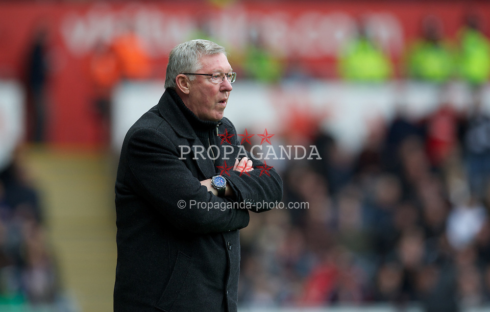 SWANSEA, WALES - Sunday, December 23, 2012: Manchester United's manager Alex Ferguson during the Premiership match against Swansea City at the Liberty Stadium. (Pic by David Rawcliffe/Propaganda)