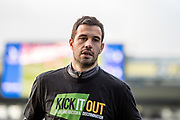 Crystal Palace #4 Luka Milivojević wearing Kick it out t shirt during the warm up before Premier League match between Crystal Palace and Stoke City at Selhurst Park, London, England on 25 November 2017. Photo by Sebastian Frej.