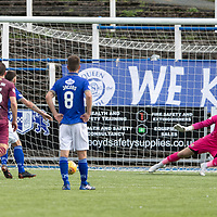 Queen of the South v St Johnstone…18.08.18…  Palmerston    BetFred Cup<br />Stephen Dobbie sends Zander Clark the wrong way to make it 3-2<br />Picture by Graeme Hart. <br />Copyright Perthshire Picture Agency<br />Tel: 01738 623350  Mobile: 07990 594431