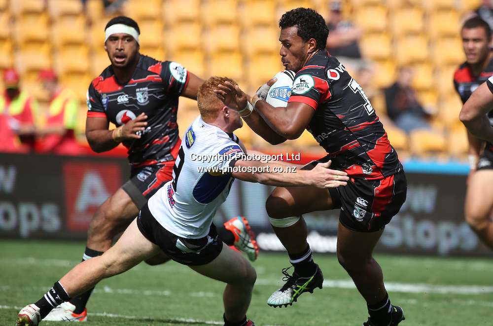 NZ Warriors player John Palavi in action  during the NSW Cup Match  between the NZ Warriors and the Wentworthville Magpies played at Mt Smart Stadium in South Auckland on the 21st March 2015. <br /> <br /> Copyright Photo; Peter Meecham/ www.photosport.co.nz