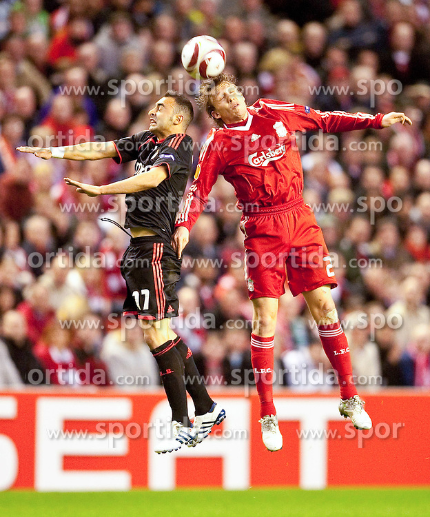 08.04.2010, Anfield Road, Liverpool, ENG, UEFA EL, Liverpool FC vs SL Benfica im Bild Liverpool's Lucas Leiva and Sport Lisboa e Benfica's Carlos Martins, EXPA Pictures © 2010, PhotoCredit: EXPA/ Propaganda/ D. Rawcliffe / SPORTIDA PHOTO AGENCY