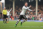 Fulham Striker, Ross McCormack (44) scoring opening goal 1-0 during the Sky Bet Championship match between Fulham and Bristol City at Craven Cottage, London, England on 12 March 2016. Photo by Matthew Redman.