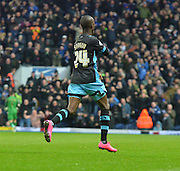 Sheffield Wednesday Forward, Modou Sougou peels off towards the travelingg fans after scoring the equaliser during the Sky Bet Championship match between Blackburn Rovers and Sheffield Wednesday at Ewood Park, Blackburn, England on 28 November 2015. Photo by Mark Pollitt.