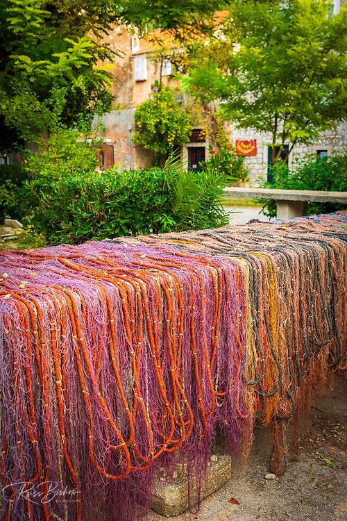 Fishing nets drying in the sun, Sipanska Luka, Sipan Island, Dalmatian Coast, Croatia