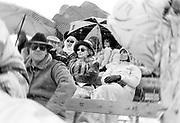 Betty Kenward and Zoe Richmond-Watson watching Cartier Polo. St. Moritz. January 1985. .© Copyright Photograph by Dafydd Jones 66 Stockwell Park Rd. London SW9 0DA Tel 020 7733 0108 www.dafjones.com