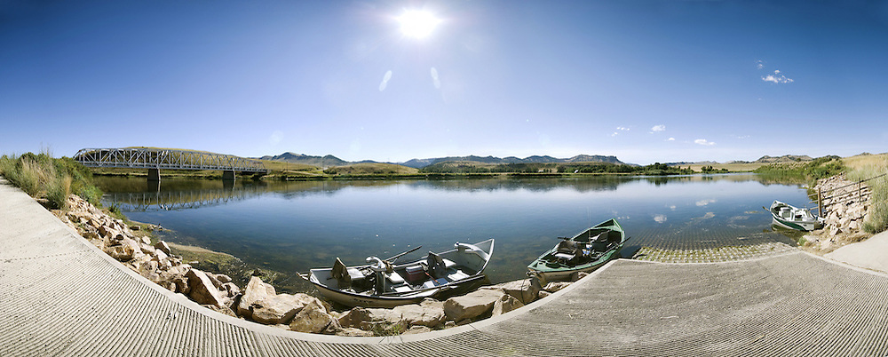 Wolf Creek Bridge Boat Launch, Wolf Creek Montana. 2.5 to 1 Aspect Panorama