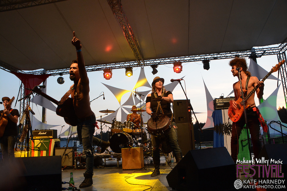 Nahko and Medicine for the People performing at Mohawk Valley Music Festival in Marcola, Oregon August 2014