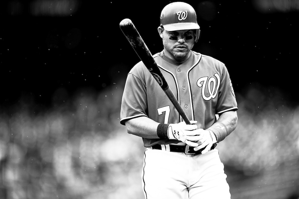 WASHINGTON, DC - MAY 01:  (EDITORS NOTE: Image has been converted to black and white.) Ivan Rodriguez #7 of the Washington Nationals looks on against the San Francisco Giants  at Nationals Park on May 1, 2011 in Washington, DC. (Photo by Rob Tringali) *** Local Caption *** Ivan Rodriguez