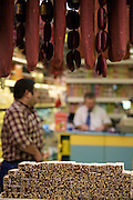 """Istanbul. At the Egyptian Bazar (""""Spice Bazar""""). Traditional sweets and dried meat, Pastrami and sausages."""