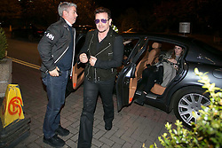 Repro Free: 24/10/2014<br /> Bono pictured as he and The Edge arrived at the RT&Eacute; studio for the Late Late Show. Picture Andres Poveda