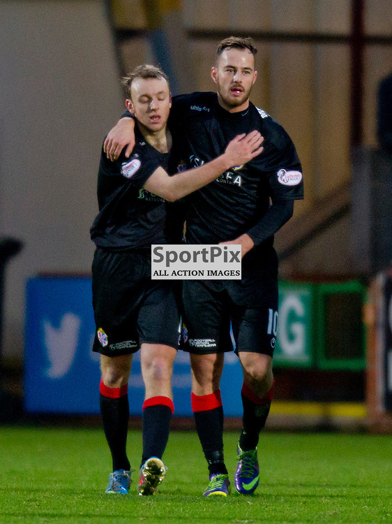 Dunfermline Athletic v Cowdenbeath SPFL League One Season 2015/16 East End Park 02 January 2016<br />  <br /> Greig Spence (left) celebrates his goal with Gordon Smith<br /> <br /> Dunfermline Athletic take on Cowdenbeath in League one, but also comemorate 20 years since the passing of DAFC player Norrie McCathie. Dunfermline and Cowdenbeath were the only two teams McCathie signed for and Dunfermline wear a replica of the strip Norrie last wore against St Mirren at Love Street in 1995. Cowdenbeath also wear a one off strip to comemorate the towns coal mining history. <br /> <br /> CRAIG BROWN | sportPix.org.uk