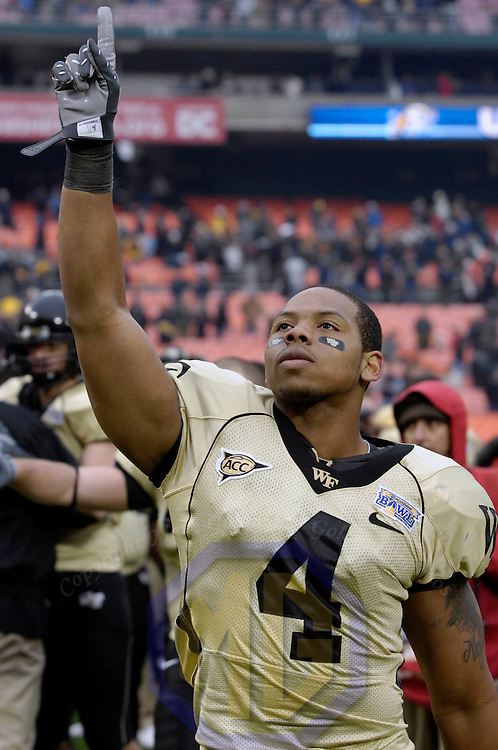 20 December 2008:   Wake Forest wide receiver D.J. Boldin (4) raises his arm after the Wake Forest University Demon Deacons defeated the Naval Academy Midshipmen 29-19 in the inaugural EagleBank Bowl in Washington, D.C.