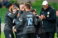 The team celebrates after Melbourne City forward Bruno Fornaroli (23) scores a goal at the FFA Cup Round 16 soccer match between Melbourne City FC v Newcastle Jets at AAMI Park in Melbourne.