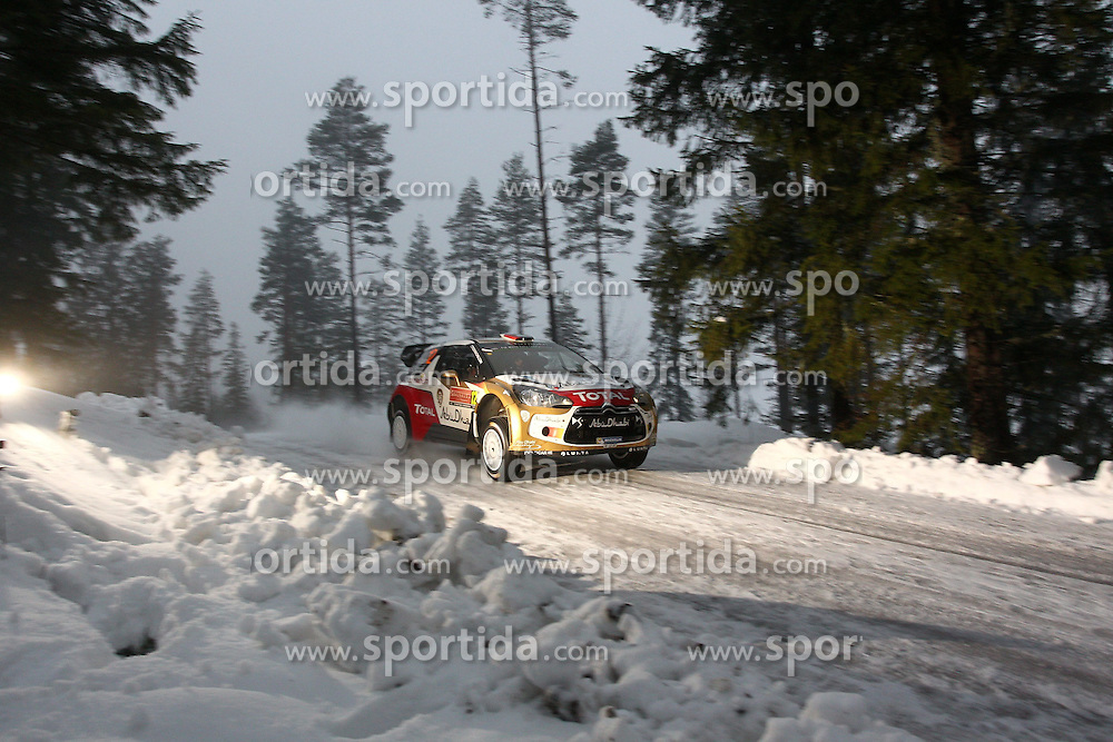 07.02.2014, Hagfors, Karlstad, SWE, FIA, WRC, Schweden Rallye, Tag 3, im Bild Khalid Al Qassimi/Chris Patterson (Citroen Total Abu Dhabi WRT/DS3 WRC), Action / Aktion // during Day 3 of the FIA WRC Sweden Rally at the Hagfors in Karlstad, Sweden on 2014/02/07. EXPA Pictures &copy; 2014, PhotoCredit: EXPA/ Eibner-Pressefoto/ Bermel<br /> <br /> *****ATTENTION - OUT of GER*****