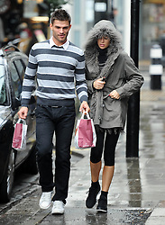 Model Abbey Clancy and her Strictly Come Dancing partner Aljaz Skorjanec take a short break from rehearsals in London, UK. 17/09/2013<br />BYLINE MUST READ : GOTCHAIMAGES.COM<br /><br />Copyright by © Gotcha Images Ltd. All rights reserved.<br />Usage of this image is conditional upon the acceptance <br />of Gotcha Images Ltd, terms and conditions available at<br />www.gotchaimages.com